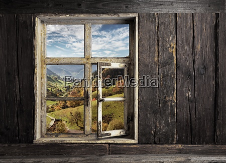 view through a wooden window into