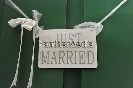 just married sign after a wedding