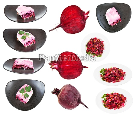 set of russian salads with beet