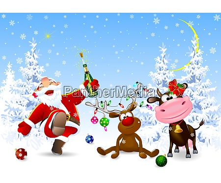 santa, , deer, and, cow, celebrate, christmas - 29081772
