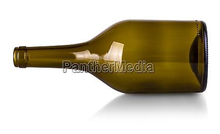 empty bottle of wine isolated on