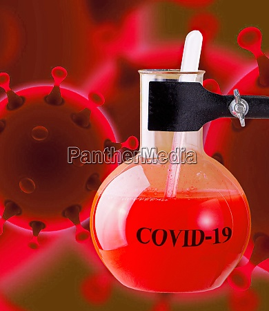 flask for chemical experiments and coronavirus