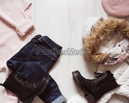 a set of fashionable winter womens