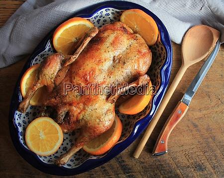 whole crispy golden roast duck with