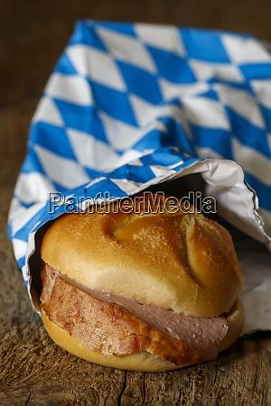 bavarian meatloaf bun on dark wood