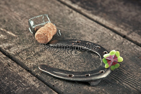 horseshoe with lucky clover on a
