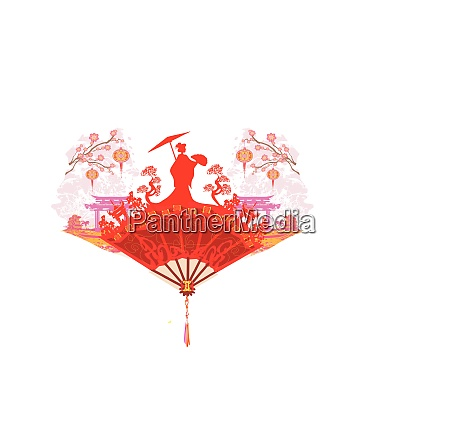 abstract decorative fan with asian girl