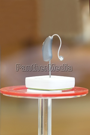 modern hearing aid device displayed