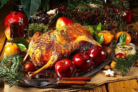 tender juicy christmas goose with