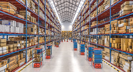 modern warehouse with automated goods movement