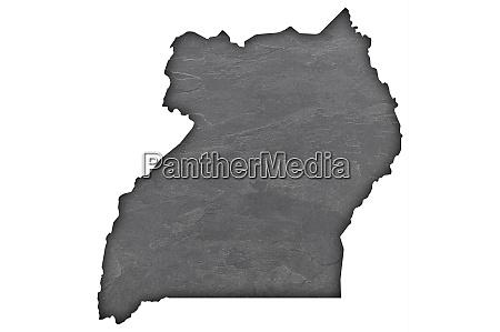 map of uganda on dark slate