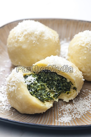 potato dumplings filled with spinach
