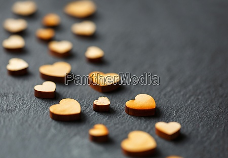 beautiful little decorative wooden hearts on