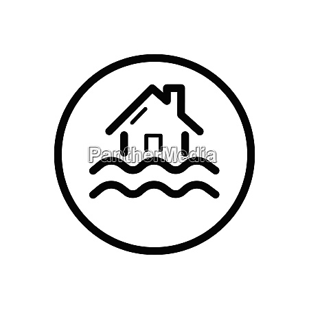 flood outline icon in a circle