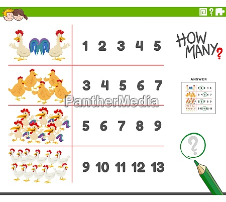 counting activity with cartoon farm chicken
