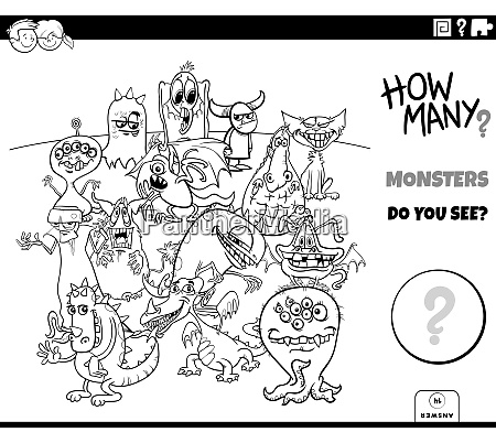 counting cartoon monsters educational game coloring