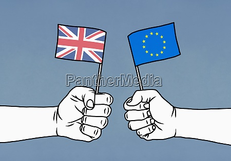 hands holding union jack and european