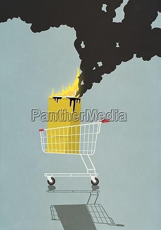 oil barrel in shopping basket burning