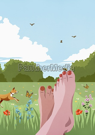 pov carefree barefoot woman relaxing in
