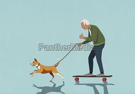 dog on leash pulling excited senior