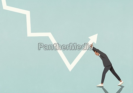 businessman struggling to move data arrow