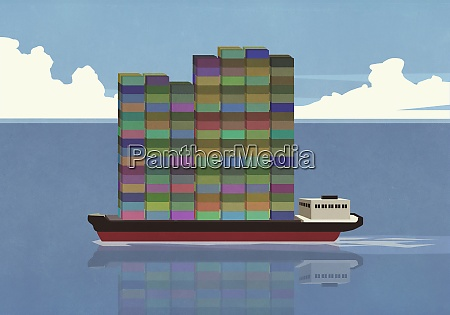 tall stack of cargo containers on
