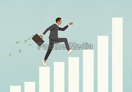 eager businessman with briefcase of money