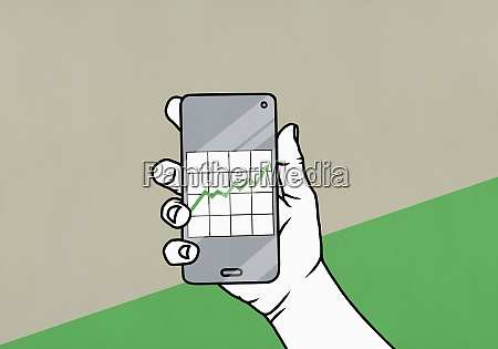 pov hand holding smart phone with