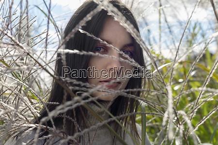 close up portrait beautiful young brunette