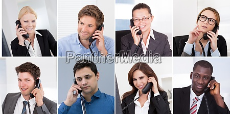 diverse business people calling phone portrait