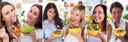 women eating healthy diet salad
