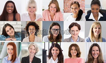 multicultural women faces photo collage portrait