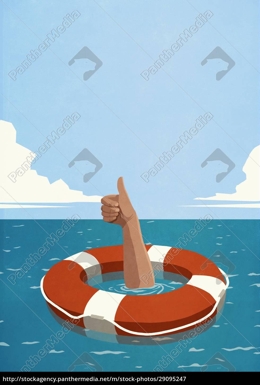 sinking, man, below, life, ring, gesturing - 29095247