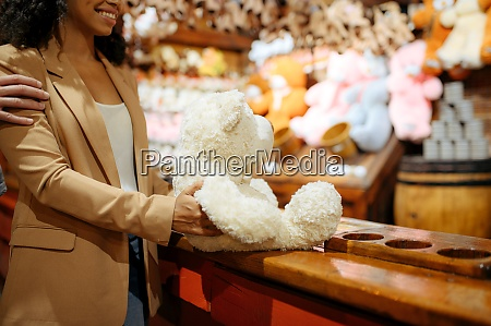 love couple wins soft toy in