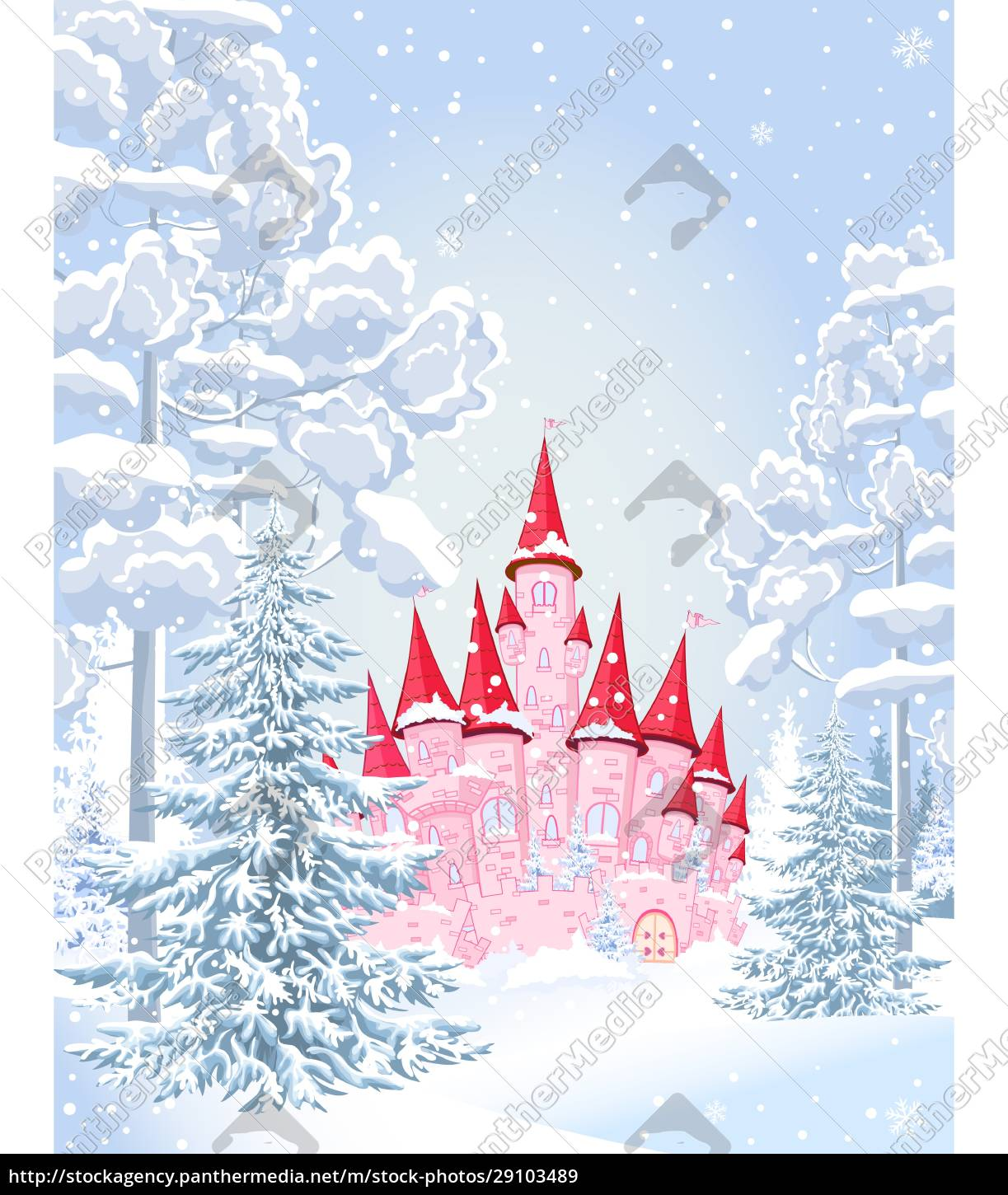 castle, forest, snow, night, winter - 29103489
