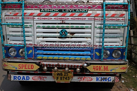 typical colorful decorated truck in kumrokhali