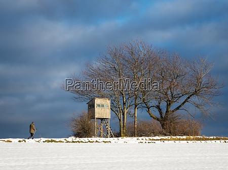 elder men nordic walking in winter