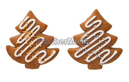 gingerbread christmas tree isolated on white