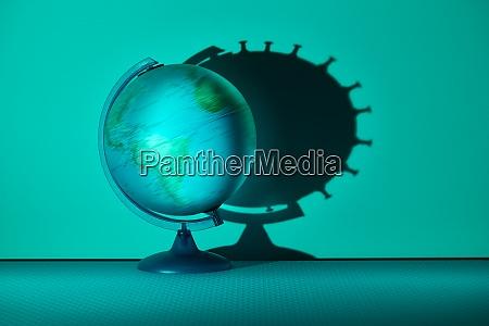 spinning globe casting coronavirus biological cell