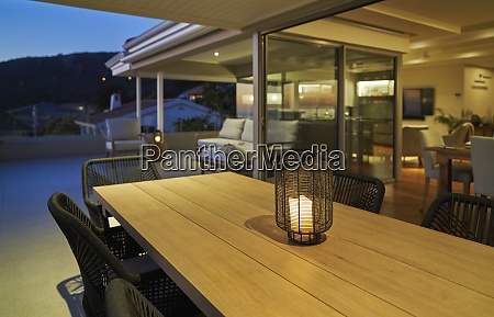 lantern with candle on luxury home