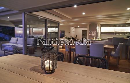 lantern and candle on luxury patio