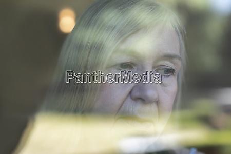 close up worried senior woman at