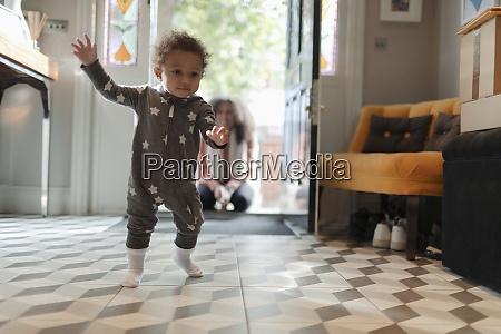 cute baby girl in star pajamas