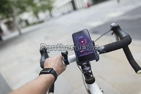 pov man riding bicycle with smart