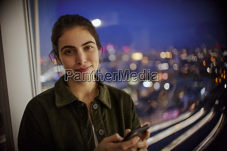 portrait businesswoman with smart phone at