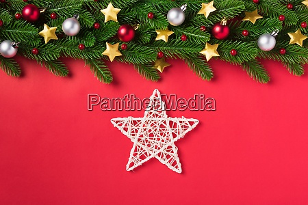 green fir tree branches decoration and