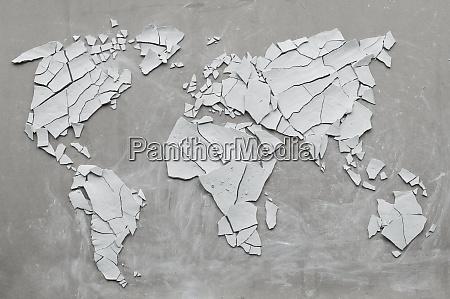 clay shards forming world map broken