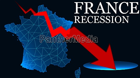france map with arrow indicated recession