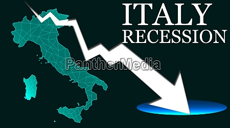 italy map with arrow indicated recession