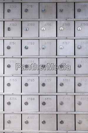 safety deposit boxes in a bank